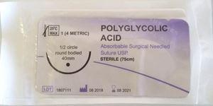Fir polyglycolic acid USP 4/0 75 cm ac traumatic 12 buc/cutie (polifilament)